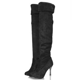 Wholesale Girls Boots Leather Sexy - Wholesale-Three Kinds wear Sexy Style Women Over Knee Thin High Heel Boots Ladies Girls Woman Slip-On Pointed Toe Folding Tube Boot Shoe