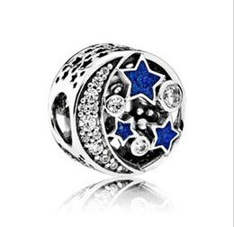Wholesale Nights Zodiac - 2017 blue sky night star moon alloy beads diy bracelet the European and American style
