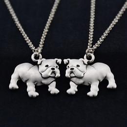 Wholesale Unique Pet Gifts - 2017 New Fashion Vintage Silver 3D English Bulldog Dog Charms Pendant Long Chain Necklace Animal Pet Women Men Long Necklace Unique Gifts