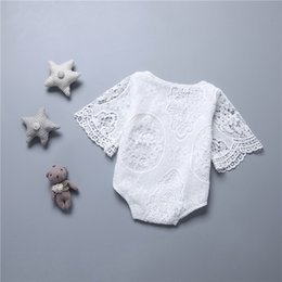 Wholesale Wholesale Lace Rompers - New Baby Romper Baby lace Rompers Girl Cotton Solid color Bat sleeve lace romper baby clothes 0-2years