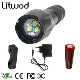 Wholesale Ac Battery Chargers - Litwod XM-L T6 5000LM Aluminum Waterproof Zoomable LED Flashlight Torch tactical light with 18650 battery +AC Charger