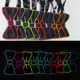 Wholesale Light Up Bow Tie - Bowknot LED Bow Tie Glowing EL Wire Light Up 10 Colors Bow Tie For DJ Bar Club Evening Party Decoration OOA2095