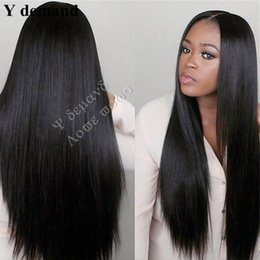 Wholesale Japanese Hair Wigs - Synthetic Wigs For Black Women Japanese Heat Resistant Fiber Long Straight Afro front Lace Hair Y demand Wholesale Price