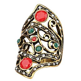 Wholesale Wholesale Rattan Ring - Gypsy Resin Imitation Bohemia big Surface ring red Gem Metal weaving Woven confusion irregular hollow ring Tree vine rattan rings Women j375