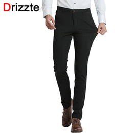 Wholesale Black Dress Pants Men - Wholesale- Drizzte Brand Mens Dress Pants Stretch Slim Casual Formal Business Trousers Autumn pants men casual pants black business work