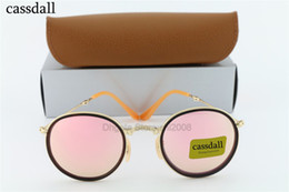 Wholesale Leather Folding Mirror - 1pcs cassdall Gold Metal Round Folding Sunglasses Fashion Women Glass Pink Mirror Lenses Brand Design Summer Sunglass with Leather Box