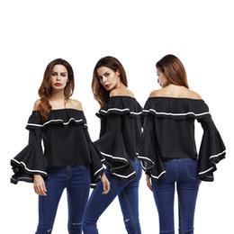 Wholesale Plus Size Womens Elegant Clothing - 2017 Spring Summer slash neck T Shirts Casual Elegant Womens Clothing Plus Size off shoulder T Shirt free shipping