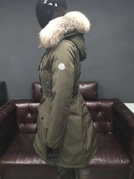 Wholesale Thick Corduroy Jacket - 2017 Fashion women's M brand hooded long coat parkas outwear army green Large raccoon fur collar winter down jacket