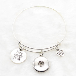 Wholesale Expandable Rings - New Fashion Interchangeable live laugh love expandable bracelets Adjustable Bangles Bracelets For 18mm 12mm Ginger Snap Jewelry NR0510