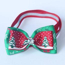 Wholesale Christmas Accessories For Dogs - 3 Colors Dogs Bow Ties for Christmas Pet Bow Ties with Rhinestones Adjustable Tie Collars Neckties Navidad Decorations Ornaments