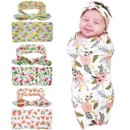 Wholesale Pattern Baby Swaddle Blanket - Europe Hot-sale Newborn Baby Swaddle Blankets Headband Set With Bunny Ear Headbands Swaddle Wrap Cloth with Floral Pattern Head bands BHB04