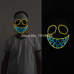 wholesale new arrival 20 patten glowing el wire light up mask novelty lighting led cold - Halloween Novelties Wholesale
