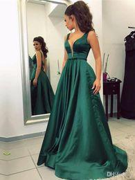 2017 Vestidos De Noche Largos Elegantes Deep V Neck Green Satin Long Evening Dresses Cheap Prom Dress