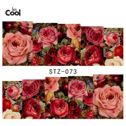 Wholesale Water Decals Rose - 1 Sheet Water Transfer Nail Art Sticker Decal Sexy Red Rose Flowers Garden Design DIY Nail Decoration Manicure Tools STZ073