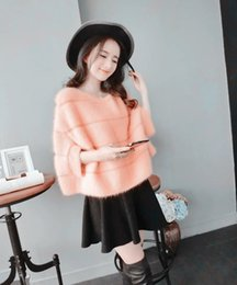 Wholesale Beige Mink Coat - Wholesale-New genuine mink cashmere sweater women pure cashmere pullovers with lining winter thick cashmere coat free shipping big S257