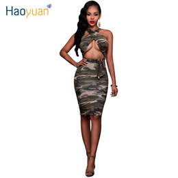 Wholesale Womens Night Set - Woman Summer Camouflage Bodycon Dress Cross Halter Backless 2 Two Piece Set Womens Sexy Dresses Party Night Club Bandage Dress 17301