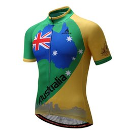 Wholesale Australia Cycling Jersey - 2017 Australia Men's Team Cycling Jersey Short Sleeve Bike Cycle Tops Shirts XXS-6XL