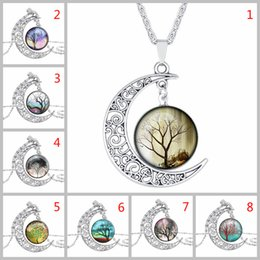 Wholesale Picture Christmas Tree - Tree of Life Picture Moon Necklace with Multicolor Time Gem Cabochon Pendant By Hcish Jewelry H0612