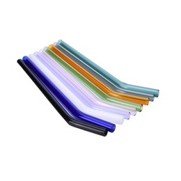 Wholesale Special Straw - 9 Color Special Fine Curved Glass Pipet Environmental Glass Health Baby Drinking Straws Pipette Drinking Straws Eco-friendly
