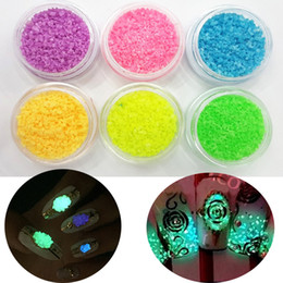 Wholesale Glowing Blue Stones - Wholesale- 2016 New Style 1MM Fluorescent Stone Glitter Nail Art Decoration Glow in Night Purple Blue Green Orange