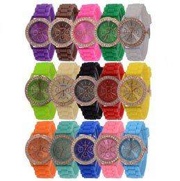 Wholesale Crystal Blue Candy - 50PCS Colorful Fashion Shadow Geneva 3 eyes Crystal Diamond Jelly Rubber Silicone Watch Unisex Men Women Quartz Candy Jelly Watches free DHL