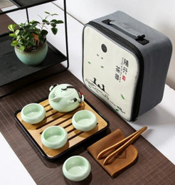 Wholesale Teapot Set Tray - Chinese wind, portable, ceramic tea set, ceramic, outdoor tourism, Quik cup, one pot and four cups, office, ceramic teapot, bamboo tea tray,