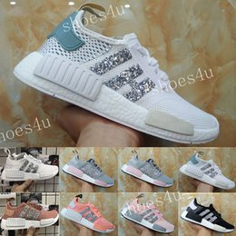 Wholesale Sequin Lace Mesh - NMD R1 Primeknit Tri color Pink Black Triple OG Running Mens Shoes Nmds Runner Primeknit Sneakers Originals Classic Casual Shoes Sequins