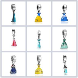 Wholesale fit movies - Fits Pandora Bracelets Silver Pendant Belle Cinderella Ariel Charm Bead Loose Beads For Wholesale Diy European Sterling Necklace Jewelry