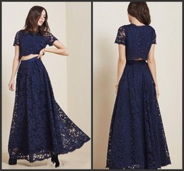 Wholesale Cheap Eveing Gowns - 2017 Party Dresse Two Pieces Lace Navy Bule Prom Gowns Formal Eveing Dresses Crew Neck Short Sleeves Zip Back Floor Length Cheap Dresses