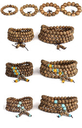 Wholesale Tibetan Woods Bracelets - Multilayer Wenge Buddha Beads Wrap Bracelets Tibetan 108pcs 6mm 8mm Prayer Beads Buddha Mala Buddhist Bracelet Necklace