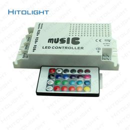 Wholesale Plastic Led Light Strips - HITOLIGHT DC12-24V 9A 24key IR Remote Music Controller Audio Sound Sensitive for RGB LED Lights Strip Plastic Shell Free Shipping