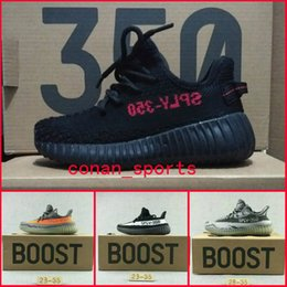 Wholesale White Baby Canvas Shoes - Kanye West Season 3 SPLY 350 Boost V2 Sneakers Children Shoes Zebra Baby Boys Girls Kids Athletic Shoes Black White