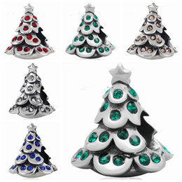 Wholesale Christmas Beads European Bracelet - 10pcs lot mixed Fashion Real 100% 925 Sterling Silver Rhinestone Christams Tree Bead Fit European Bracelet Authentic Luxury DIY Jewelry Gift