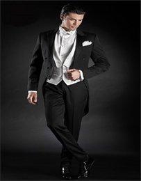 caudas de casaco de jaqueta preta Desconto Atacado-Classic Black Cauda De Cetim Casaco Groom smoking Terno Groomsman Custom Made Man Suit Bonito Tailcoat (jaqueta + calça + colete)