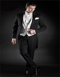 Wholesale Grooms Coat - Wholesale- Classic Black Satin Tail Coat Groom Tuxedos Groomsman Suit Custom Made Man Suit Handsome Tailcoat (jacket+pants+vest)