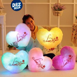 Wholesale Love Heart Shaped Pillows - Wholesale- Sweet love heart shape flashing luminous pillow sweetylove lovers wedding pillow plush toy cushion creative gift