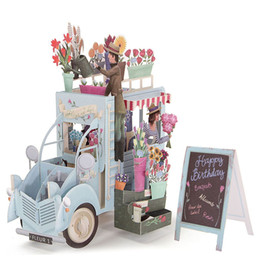 Wholesale Greeting Cards Supplies - Wholesale-Romantic 3D Pop Up Car of Flower Greeting Cards Happy Anniversary Birthday Invitations Card Papercrafts Events Party Supplies