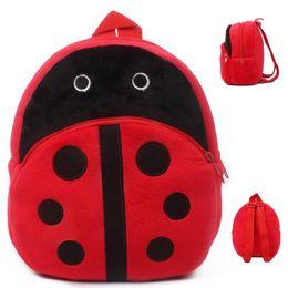 Wholesale Shool Bags - Wholesale-Ladybug mini schoolbag baby backpack mochila children's shool bags kids plush backpack for Birthday Christmas gift