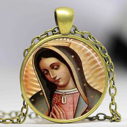 Wholesale Mary Heart - Our Lady of Guadalupe pendant Necklace Virgin Mary Sacred Heart Religious Art Steampunk Bronze chain vintage women Jewelry