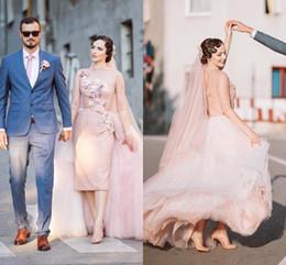 vestido de casamento com bainha de comprimento de chá Desconto Vestidos de casamento do vintage bateau neck 3/4 mangas compridas bainha tule sobre a saia chá comprimento em pó rosa curto vestidos de casamento