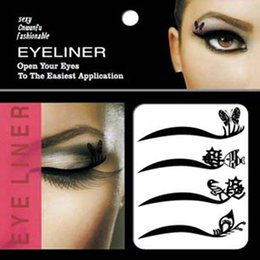 Wholesale Eyeliner Decorations - Wholesale- 4pairs lot Wing Eye Liner Temporary Tattoos Eye Art DIY Decorations Waterproof Eye Shadow Eyeliner Tattoos Beauty Makeup Tools