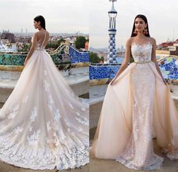 Wholesale Champange Lace Dress - Luxury Milla Nova Bridal 2017 Modern Wedding Dresses Champange Lace Beaded Sheer Neck Court Train Detachable Oversirts Gowns Country Garden