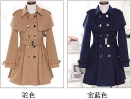 Wholesale Camel Coat For Women - 2016 New Winter long denim coat for women Camel Blue Hooded Poncho Cape Coat Women Cloak manteau femme high quality