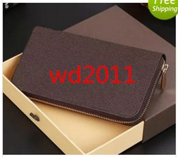 Wholesale Clutch Wallet Chain - 2017 hot luxury brand Fashion zipper wallet long style purse designer clutch Genuine leather wallet with 60015 60017