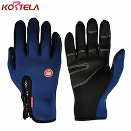 Wholesale Bike Warmers - Men Women Cycling Gloves Full Finger Touch Screen Winter Warm Guantes Ciclismo MTB Bike Bicycle Windproof Gloves for Smartphone