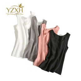 Wholesale Pink Station - European station 2017 spring and summer new Europe and America name brand crepe de chine real silk vest