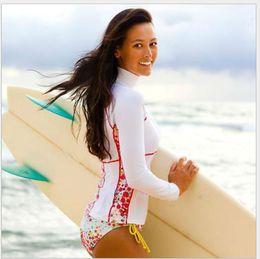 Wholesale Guard Swim - Beach Surf Rash Guard Women Lycra Long Sleeve Swim Shirt Bathing Diving Suit Top UV Protection Quick Dry Swimwear Swimsuit