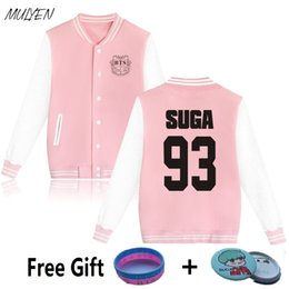 Wholesale Bts Album - Wholesale- MULYEN BTS Kpop Bangtan Boys Album Hoodies Women Plus Size Sweatshirt Cotton Fleece Pink Jacket Baseball Uniform
