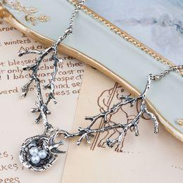 Wholesale Bird Necklace Nest - Wholesale- DoreenBeads Handmade Necklace Antique Silver & Silver Tone Swallow Bird Nest Branch White Acrylic Imitation Pearl 70.5cm 1PCs