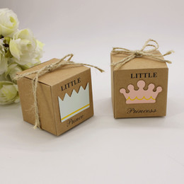 Wholesale Crown Baby Shower Favors - 100pcs Little Prince Princess Brown Kraft Paper Gift Box Baby Shower Birthday Party Favors Candy Boxes with Crown and Twine